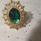 Green and Gold Stretchy Statement Ring