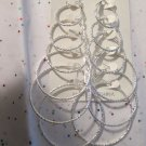 Set of 6 Silver Tone Hoop Etched Earrings