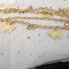 Butterfly Charm Gold Tone Bracelet / Anklet