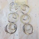 "Silver Tone Fashion Circle Earrings - 5"" Long"