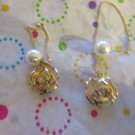 Gold Flower Threader Earrings with Pearl Back