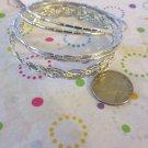 Set of 5 Silver Tone Bracelets