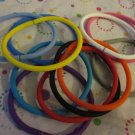 11 Silicone  Euro Bead Bracelets  - Mix of Colors