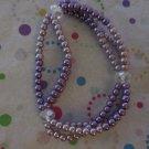 Pink andPurple 3 Strand Stretchy Bracelet