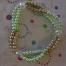 Green andTan 3 Strand Stretchy Bracelet