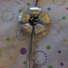 Big Flower  Silver Tone Necklace