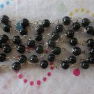 4mm Black Beaded Chain - 7'