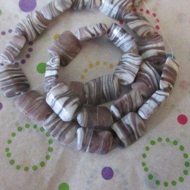 Purple and White Rectanguler Beads - 1 Strand