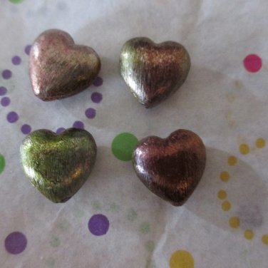 Copper Heart Beads - Set of 4