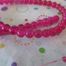 "Pink Glass Crackle Beads, 8mm - 1 16"" Strand"