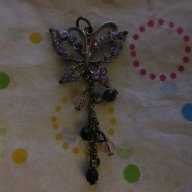 Purple Butterfly with Rhinestones Charm Focal
