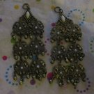 Antiqued Gold and White  Drops Set of 2