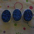 3 Faux Blue Druzy 2 Hole Beads