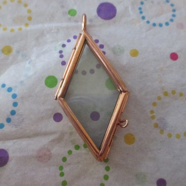 Copper Plated Hinged  Picture Frame Glass Pendant
