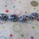 4 Procelain Blue and White Beads