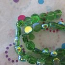 Green Coin Beads with AB Finish