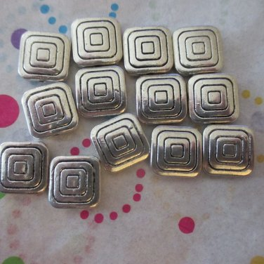 12mm Metal Square Beads