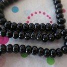 Black Rondelle Glass Beads - 1 Strand