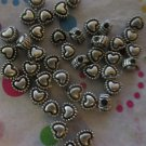Pewter Heart Beads - 45 Pieces