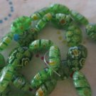 "Glass Millefiori Green Bead Oval - 15"" Strand"