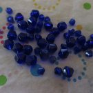 Blue Glass Bicone Beads - Set of 48