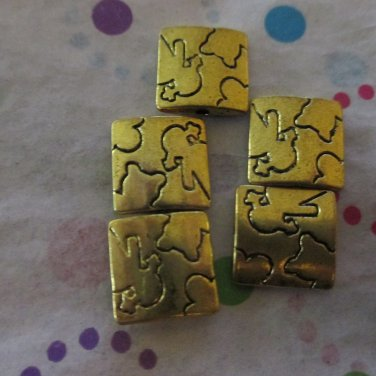 5 Gold Square Beads