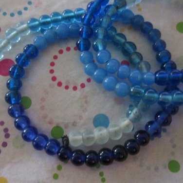Shades of Blue Glass Beads- 2 Strands