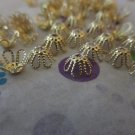 Gold Tone Beads Caps - Set of 50