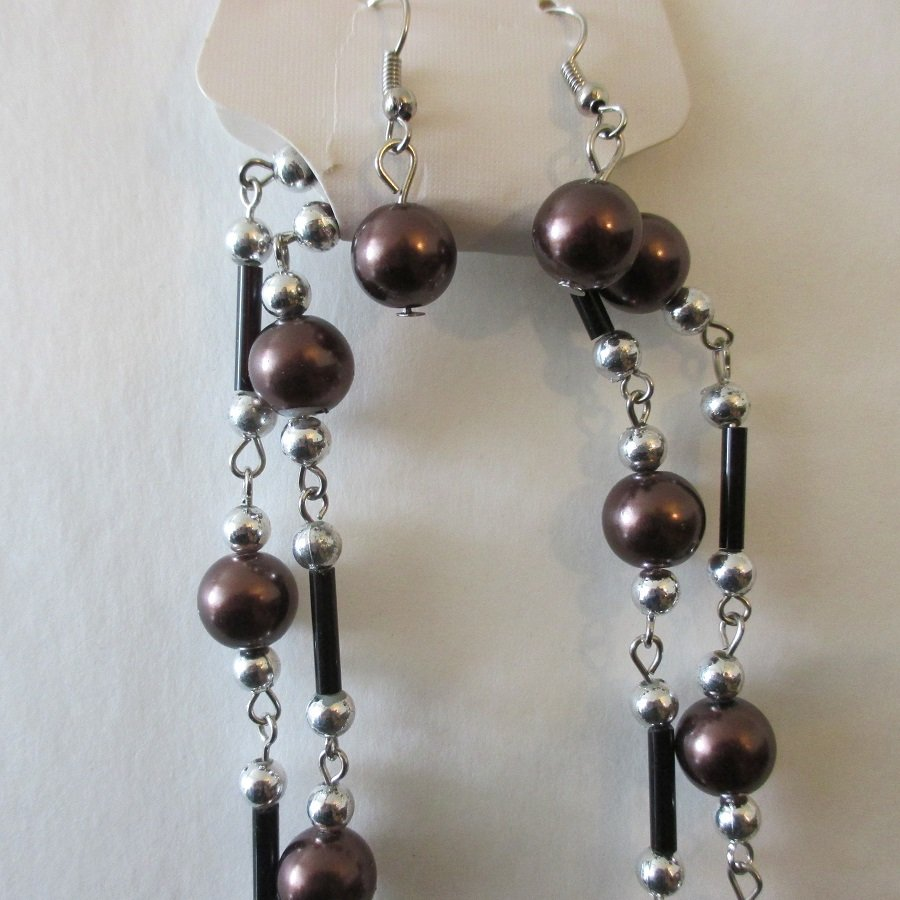 Brown Glass Pearl Fashion Necklace w/ Earrings