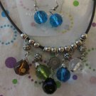 Summer Beaded Necklace With Blue Earrings