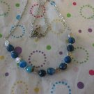 Blue Agate with Silver Bead Necklace - 18""