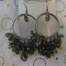 Olive Green and Silver Earrings