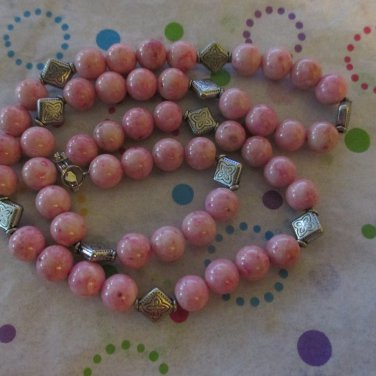 Pink Fossil Bead Necklace with matching Earrings - OOAK