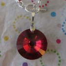 Red Glass Pendant On Silver Chain