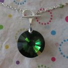 Green Glass Pendant on Silver Chain