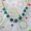 Teal Crystals and Gold Chain Necklace