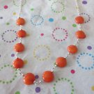 Orange Jade and Silver Necklace