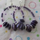 Big Purple Wood and Glass Earrings