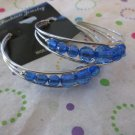 Blue Bead Silver Hoop Earrings