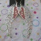 Orange Crystals on Silver Angel Wing Earrings
