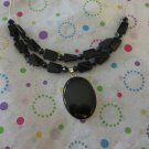 Two Tier Black Bead Necklace