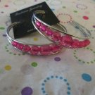 Pink Bead Silver  Hoop Earrings