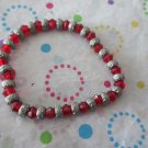 Red and Silver Bead Fashion Bracelet