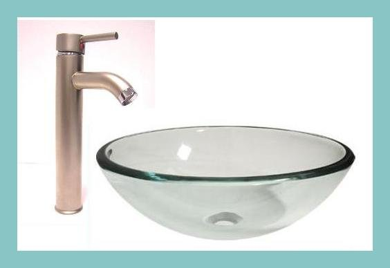 Clear Tempered Glass Vessel Sink & Nickle Finish Faucet Combo