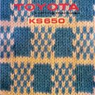 TOYOTA KS 650 KNITTING MACHINE INSTRUCTION MANUAL