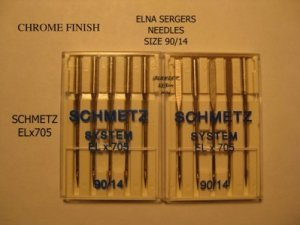 Viking, White, Bernina, Brother, Janome  Serger SCHMETZ  90/14 NEEDLES CHROME FINISH