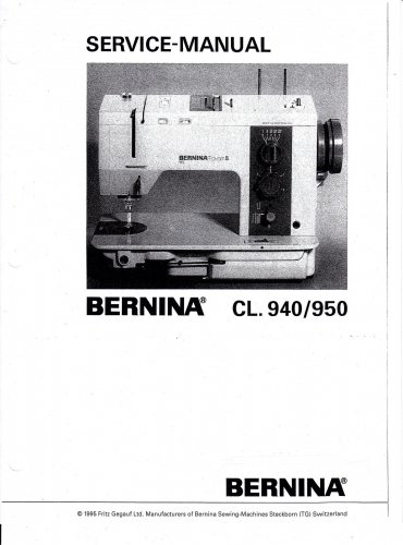 Bernina 940/950 Service Manual in PDF format on CD