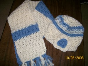 Blue & White Crocheted Hat & Scarf