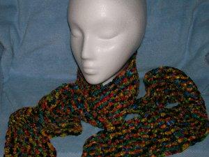 Crocheted Multicolor Ribbon Scarf