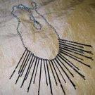 Silver Blk, Lg, Sm, Bobbie Pin 24in Necklace
